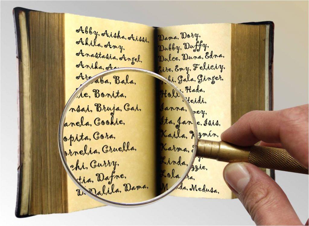 Libro antiguo con nombres y lupa revisando