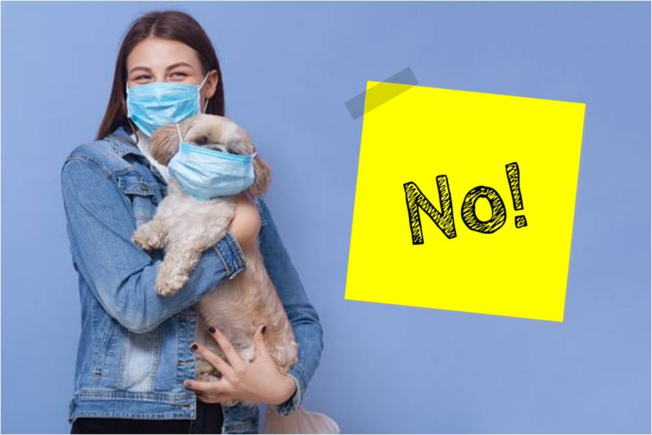Mujer y perro con mascarilla cartel NO